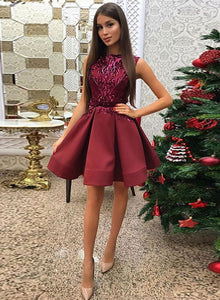 Burgundy round neck sequins short prom dress, homecoming dress