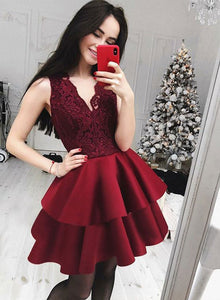 Burgundy v neck lace short prom dress, homecoming dress