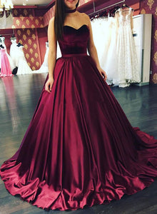 Amazing A line sweetheart neck long prom gown, burgundy evening dress