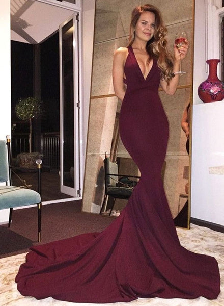 Burgundy mermaid long prom dress, burgundy evening dresses