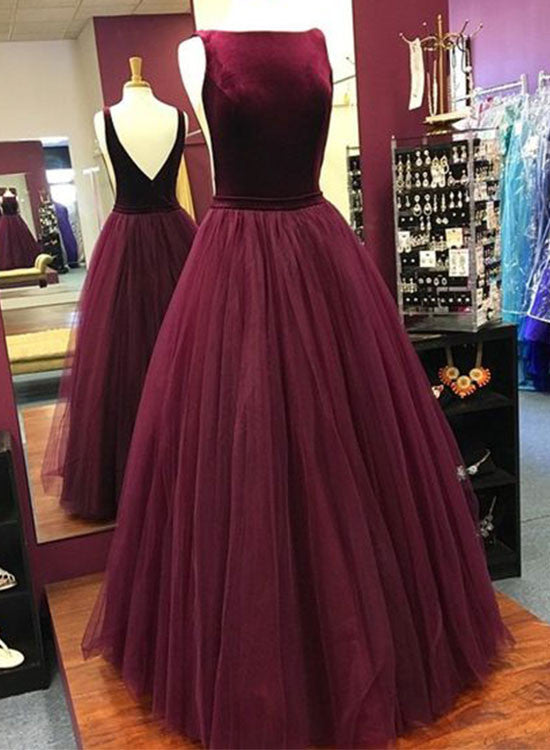 Burgundy A line tulle long prom dress, burgundy evening dress