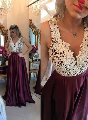 Burgundy A line v neck lace long prom dress, formal dresses