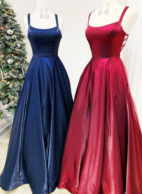 Simple round neck satin long prom dress, evening dress