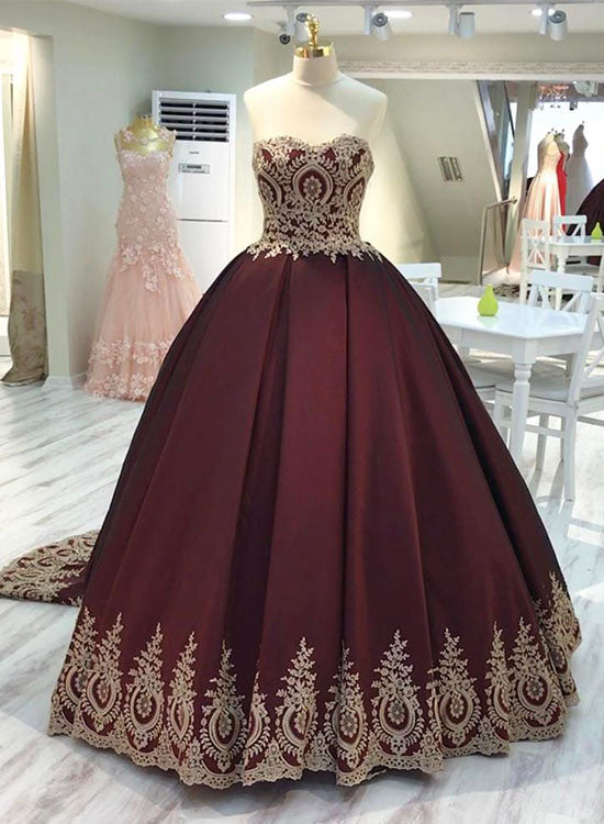Burgundy lace sweetheart neck long prom gown, burgundy evening dress