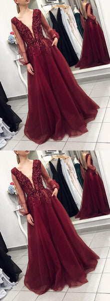 Burgundy v neck tulle long prom dress, long sleeve evening dress
