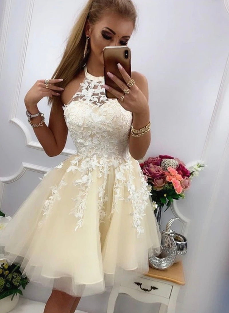 Champagne lace tulle short A line prom dress