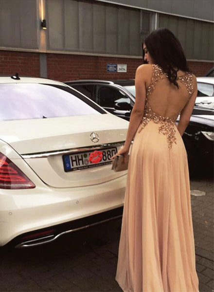 Champagne A line chiffon long prom dress, champagne evening dress