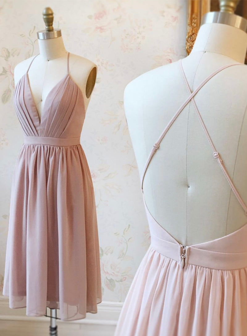 Cute v neck chiffon short prom dress