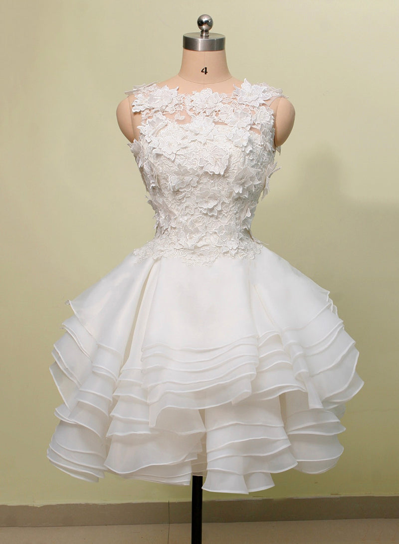White tulle lace short prom dress party dress