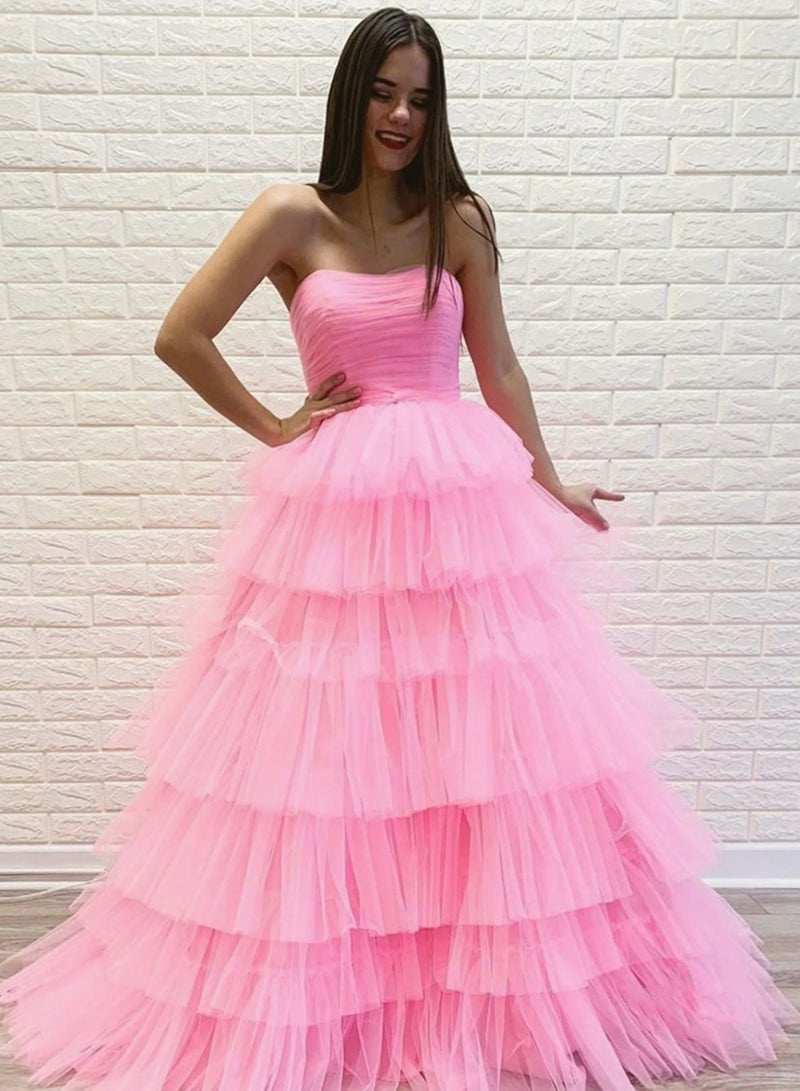 Pink tulle long prom gown pink evening dress