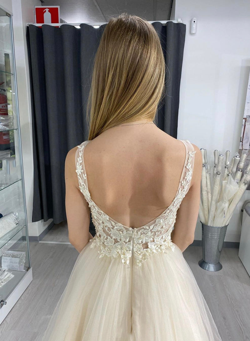 Champagne tulle lace long A line prom dress