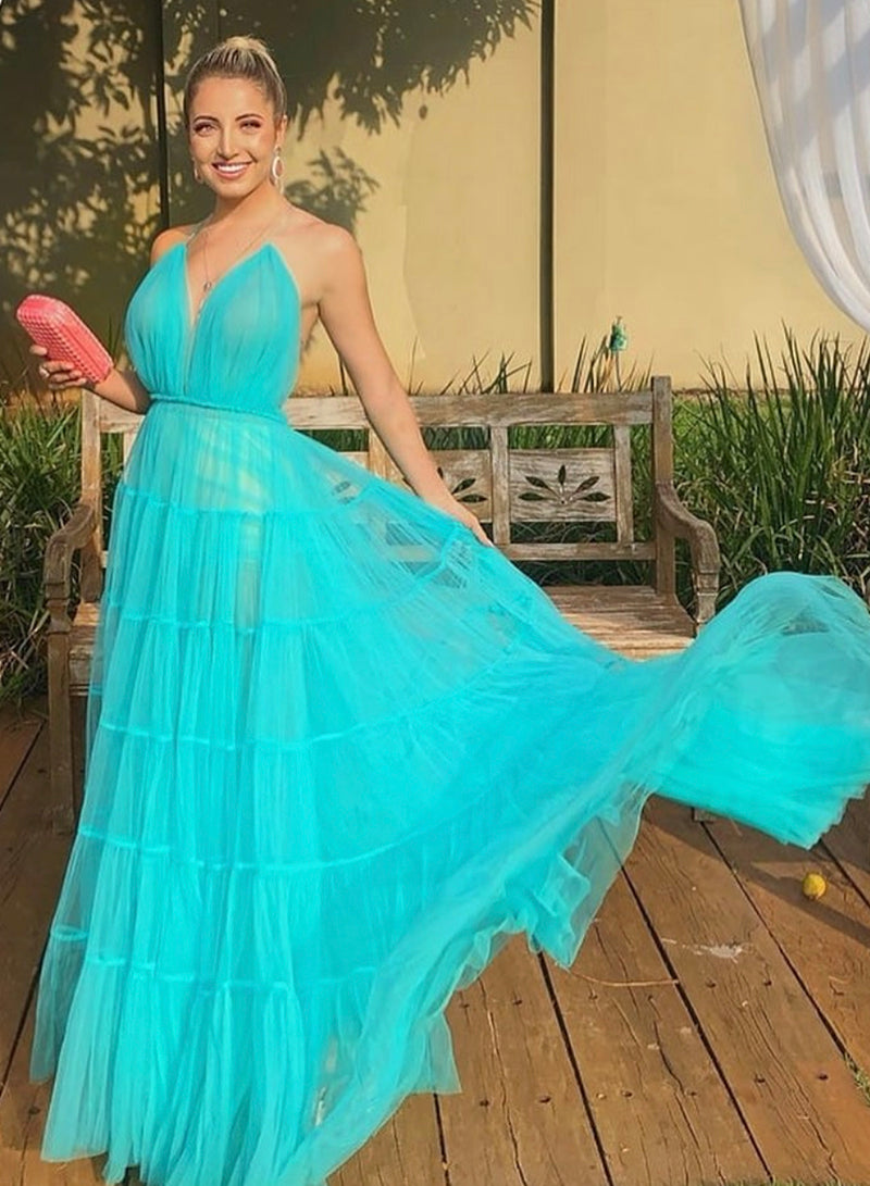 Simple v neck tulle prom dress evening dress