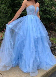 Blue strapless tulle lace long ball gown dress