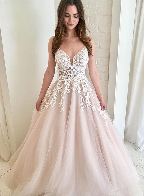 Light champagne v neck tulle lace long prom dress, evening dress