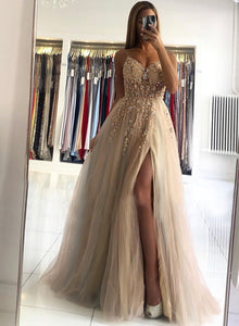 A line v neck tulle beads prom dress evening dress