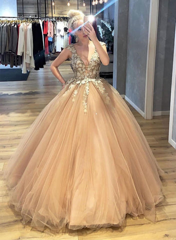Champagne tulle lace long prom dress, v neck evening dress