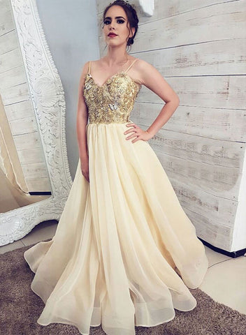 Champagne sweetheart neck lace long prom dress, evening dress