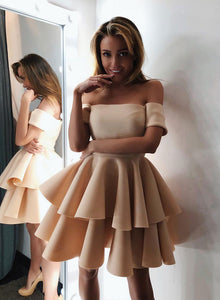 Cute satin short prom dress, homecoming dress