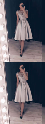 Cute lace satin short prom dress, homecoming dress