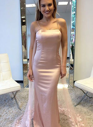 Unique pink mermaid long prom dress with lace train, pink evening dress