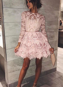 Stylish long sleeve lace homecoming dress, short prom dress