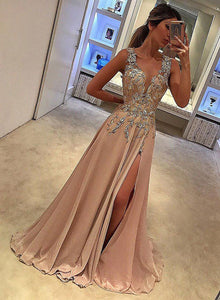 A line v neck lace long prom dress, champagne evening dress