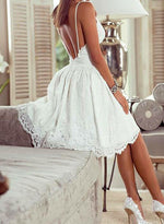 White v neck lace short prom dress, homecoming dress