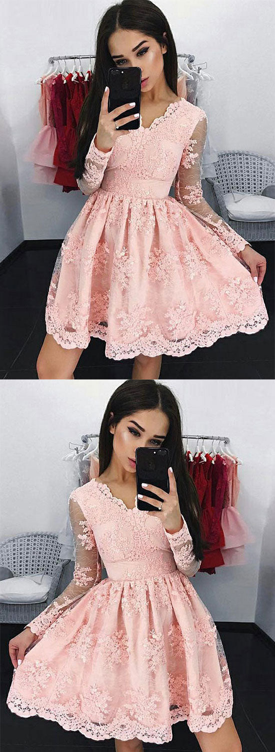 Pink v neck lace short prom dress, lace homecoming dress