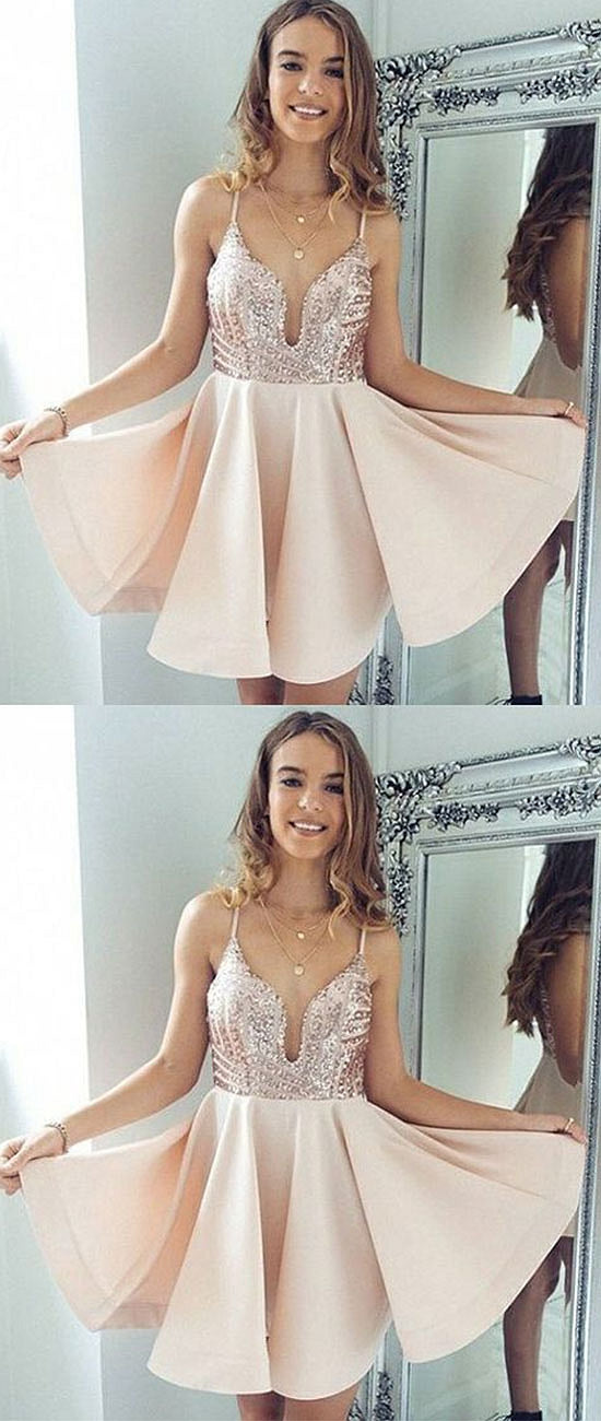 Cute chamapgne v neck short prom dress, homecoming dress