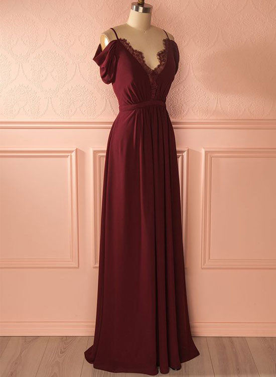 Burgund A lin chiffon lace long prom dress, burgundy evening dress