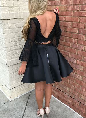 Black two pieces lace short prom dress, long sleeve evening dress
