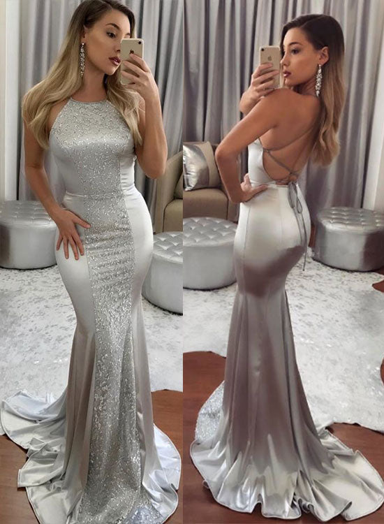 Mermaid silver sequins backless long prom dress, silver evening ...