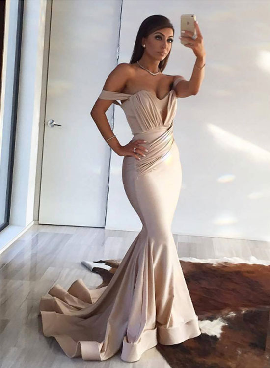Champagne mermaid long prom dress, champagne evening dress