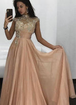 Champagne round neck chiffon long prom dress, evening dress