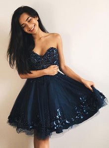 Cute blue sweet neck short prom dress, homecoming dress