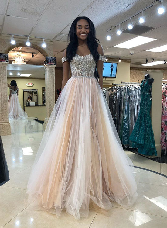 5a17525bb6e4 Champagne tulle beads long prom dress, off shoulder evening dress ...