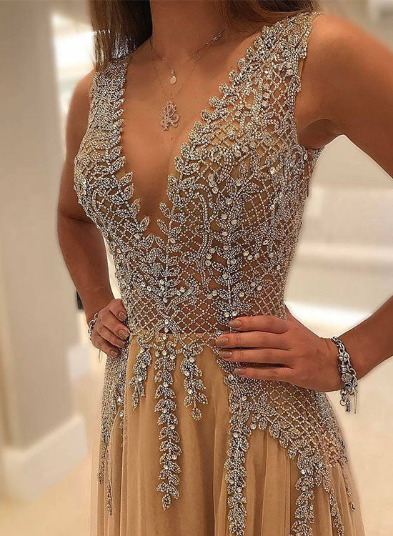 Gorgeous champagne v neck long prom dress, champagne evening dresses