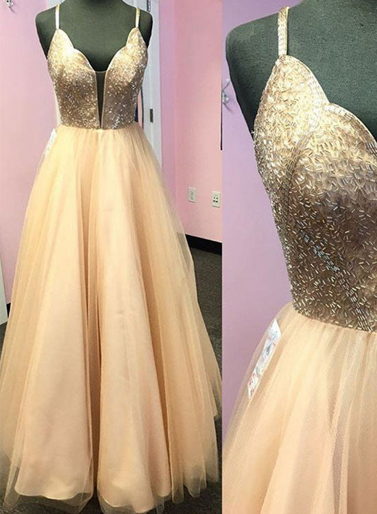 Champagne v neck long prom dress, champagne formal dress