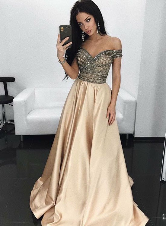 Gorgeous off the shoulder champagne long prom dress, evening dress