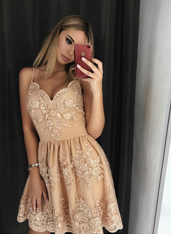 Cute champagne v neck lace short prom dress, evening dress