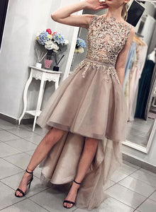 Champagne lace high low prom dress, evening dress