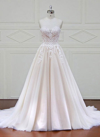 Champagne sweetheart neck lace tulle long pro dress, evening dress