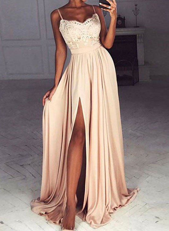 Elegant lace chiffon long prom dress, champagne evening dresses