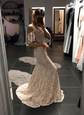 Mermaid lace off shoulder long prom dress, evening dress