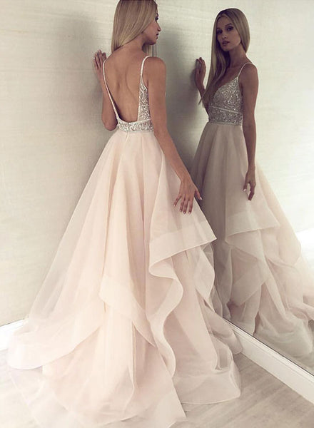 Champagne v neck tulle beaded long prom dress, evening dress