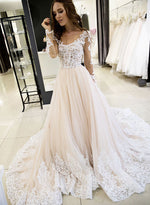 Champagne lace tulle long prom dress, long sleeve evening dress