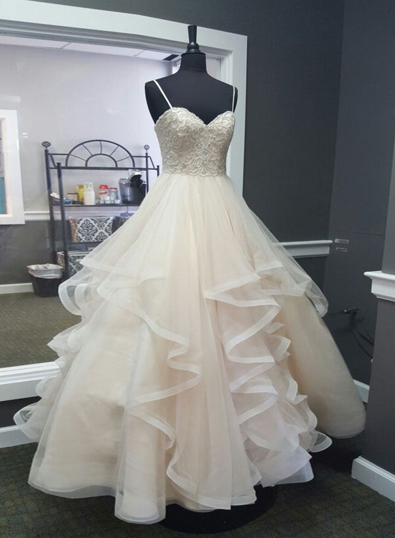 Champagne sweetheart neck tulle long prom dress, formal dress