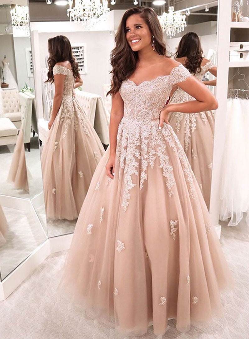 Champagne tulle lace long a line prom dress evening dress