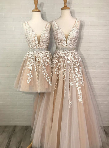 Champagne v neck tulle lace long prom dress, homecoming dress
