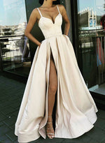 Champagne sweetheart neck satin long prom dress, evening dress